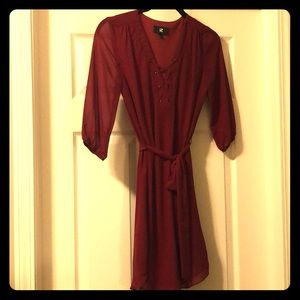Red Dress with Laced Front, Belted